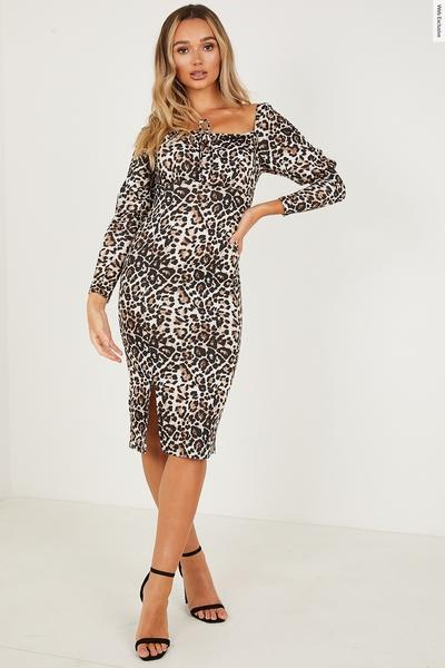 Tan Leopard Puff Sleeve Midi Dress